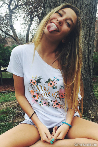 Chi Omega Flowy Floral Tee