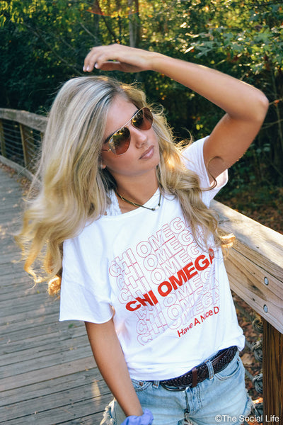 Chi Omega Have a Nice Day Tee