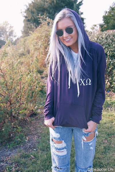 Chi Omega Crest Hooded Pullover