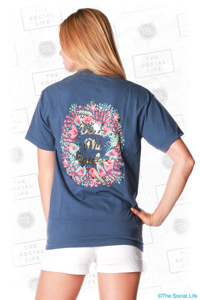 Delta Phi Epsilon Floral Wreath Pocket Tee