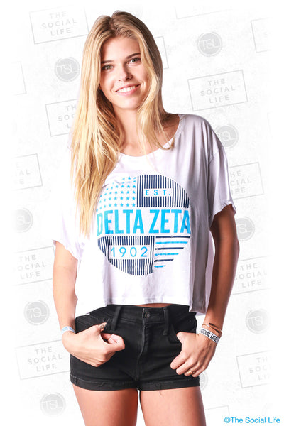 Delta Zeta Stars and Stripes Boxy Tee