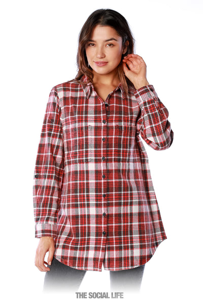 Vintage Wash Flannel (Black/Red)