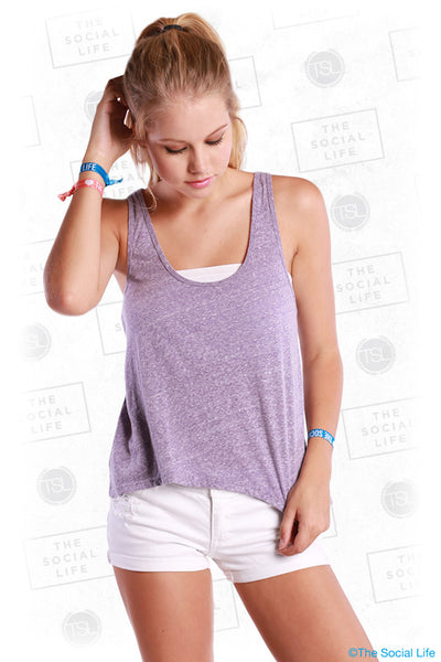 Deep Scoop Neck High Low Racer Back Tank