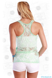 Scoop Neck Lace Racer Back Tank