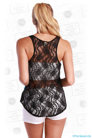 High Low Lace Back Tank
