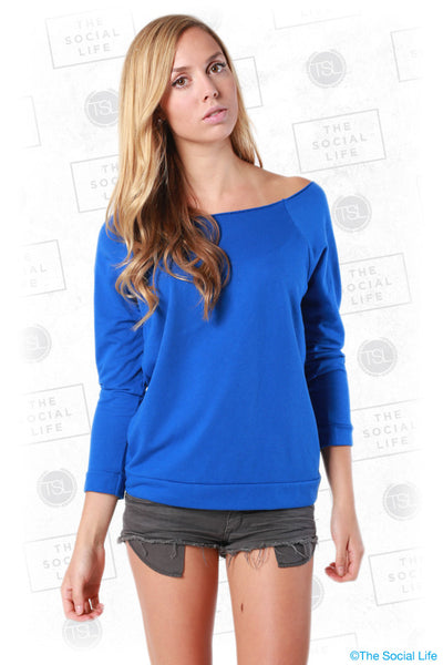 Terry Raw-Edge 3/4-Sleeve Raglan