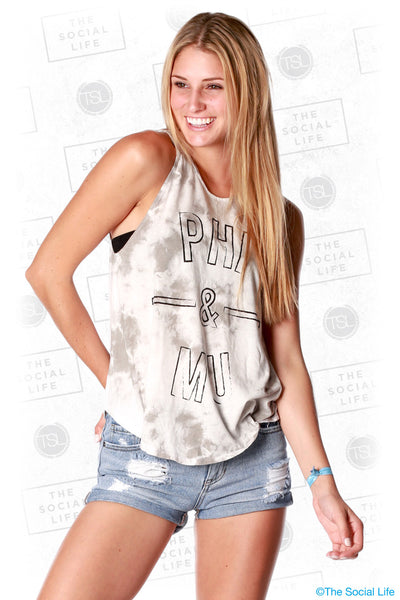 "Phi Mu ""&"" Marble Dye High Neck Tank"