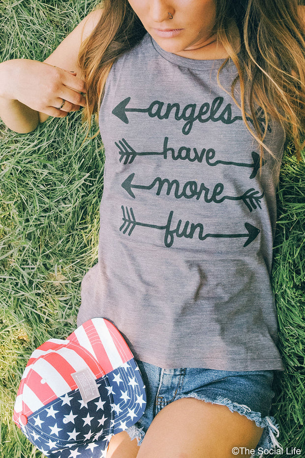 Pi Beta Phi Angels Have More Fun Muscle Tank