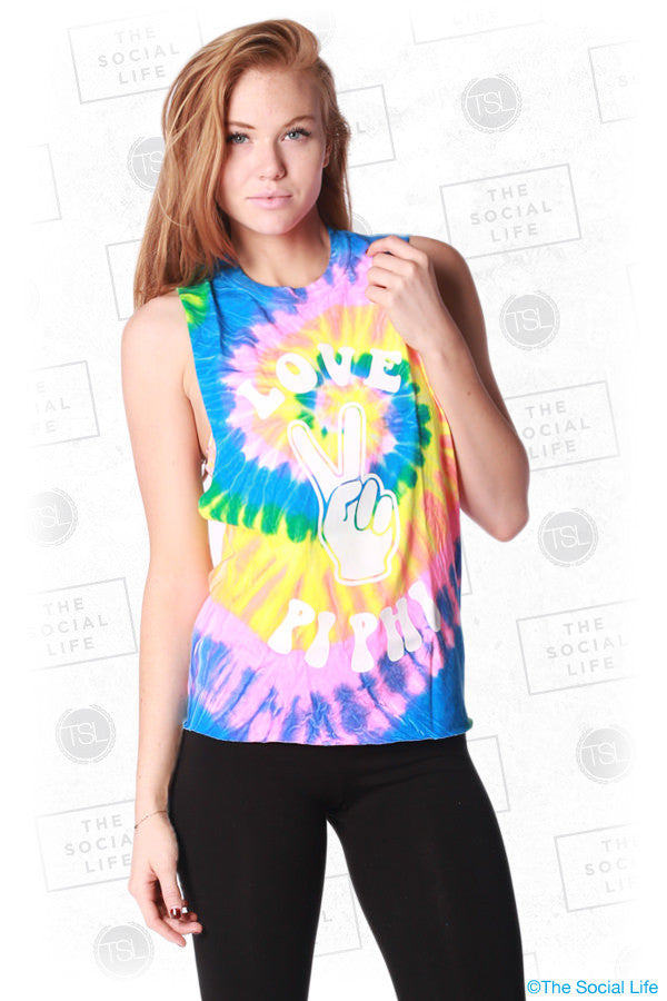 Peace & Love Tye-Dye Muscle Tank