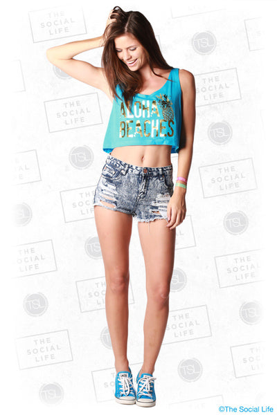 Aloha Beaches Crop Top