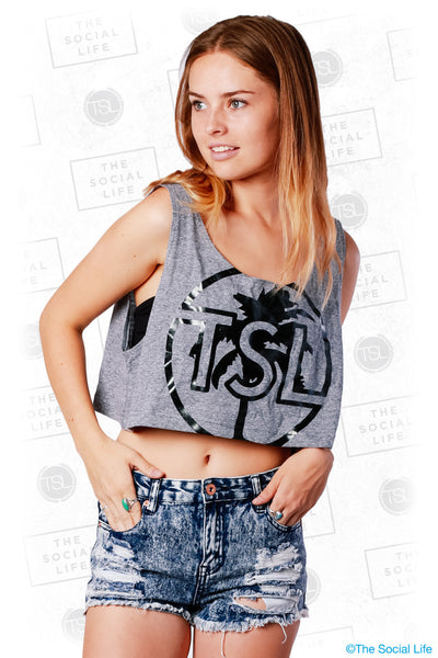 TSL Black Foil Palm Crop Tank