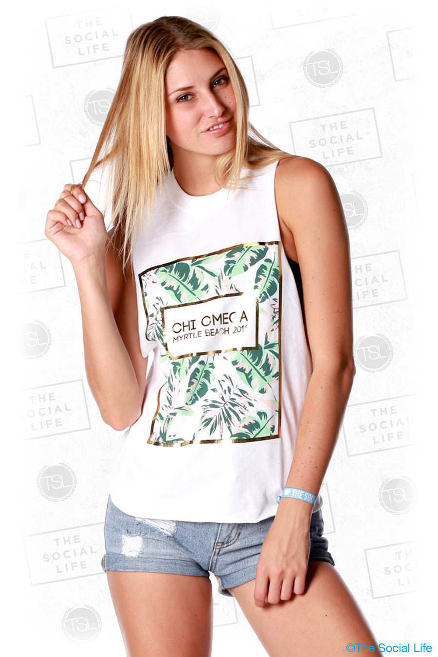 Chi Omega Tropical Palms Muscle Tank
