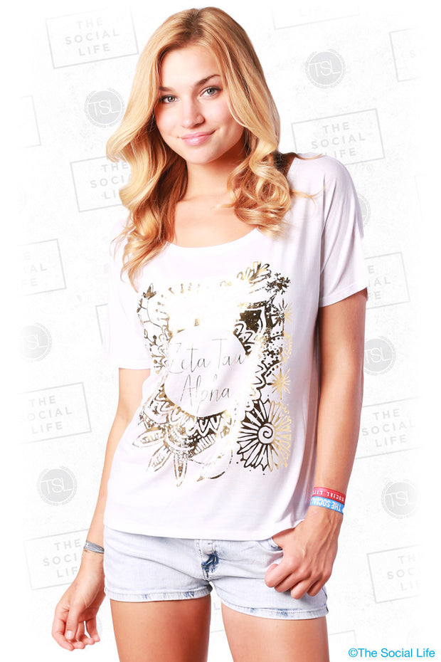 Golden Flower Flowy Tee