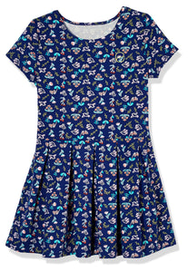 Emosewa Girls Short Sleeve Allover Floral Print Dress
