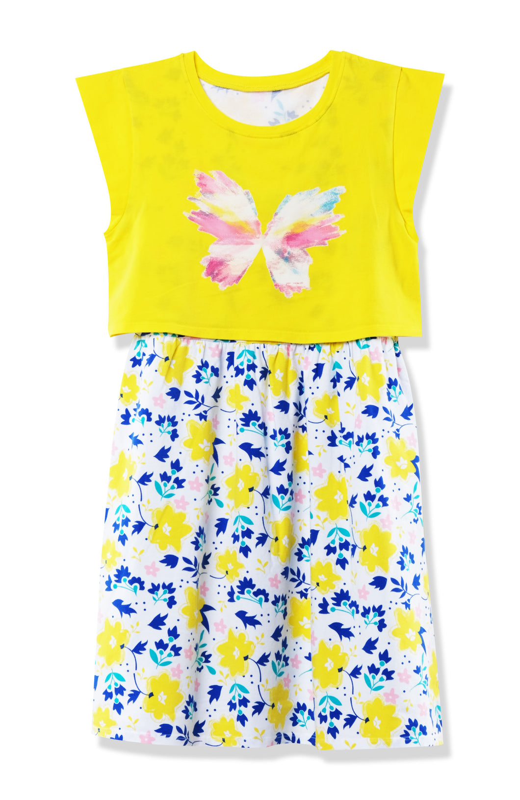 Emosewa Girls Pullover Casual Cap Sleeve Dress with Butterfly Graphic