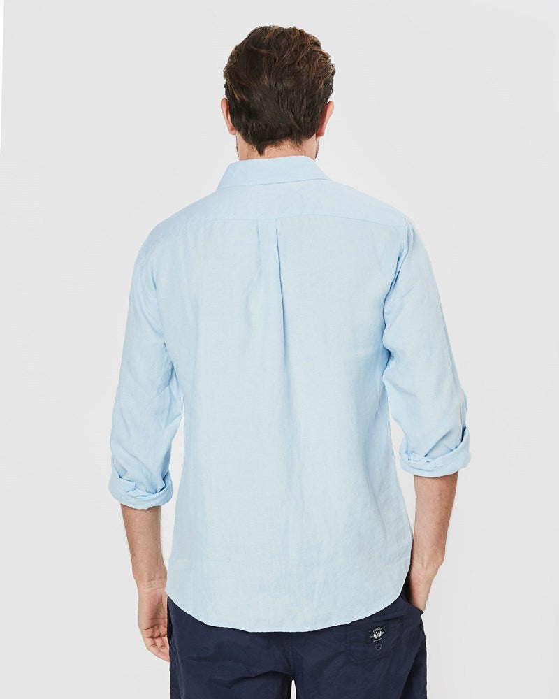 Long Sleeve Linen Shirt in Blue