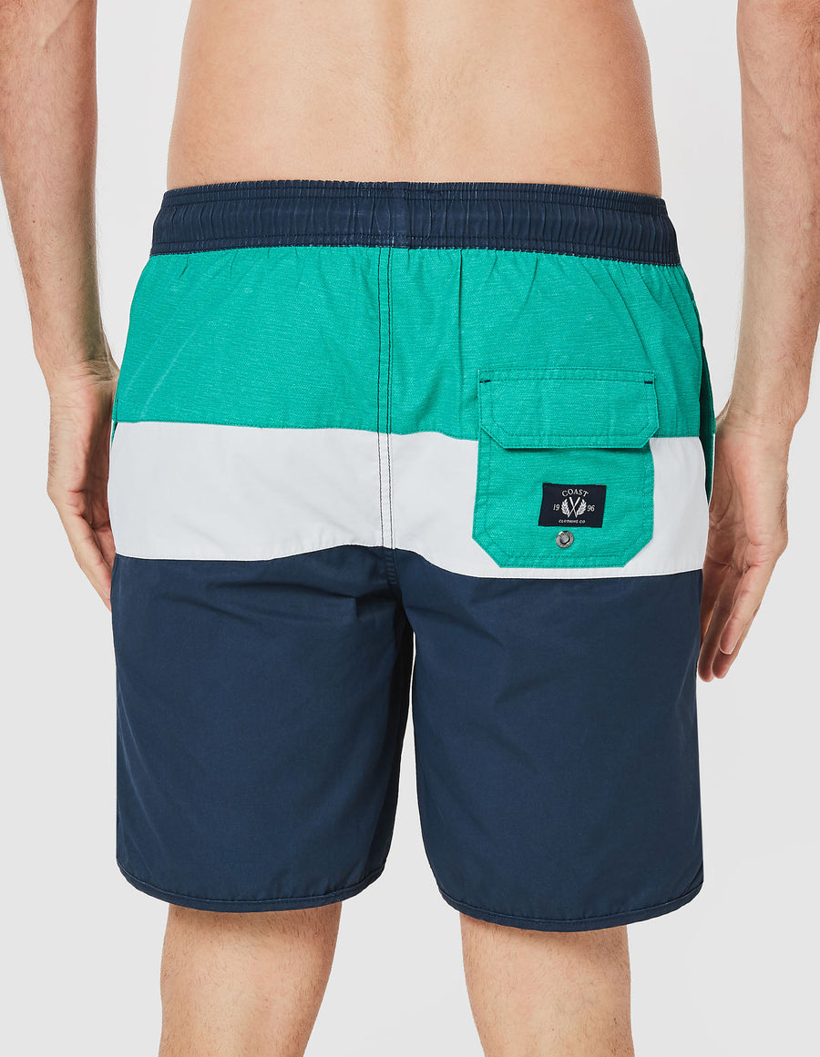 Plus Panel Stripe Board Short in Navy