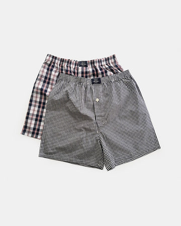 2 Pack Woven Check Boxers 2 PK in Grey