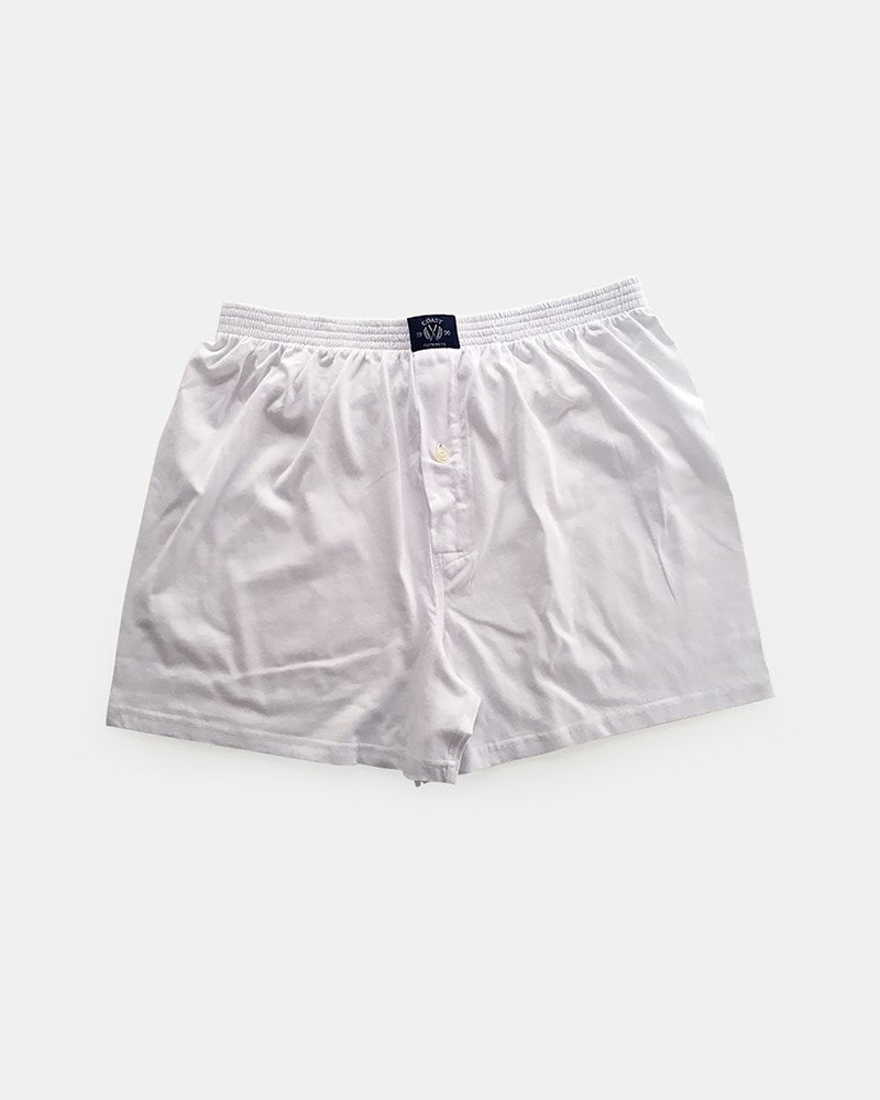 Single Knit Boxer Short in White