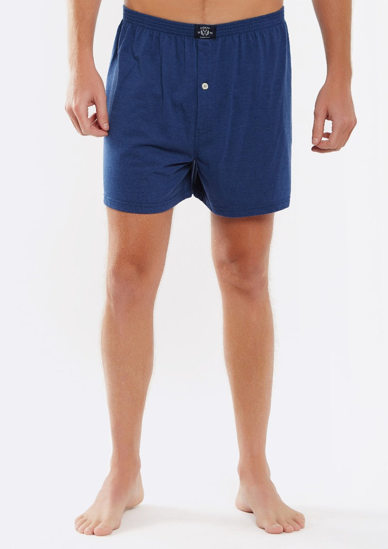 Single Knit Boxer Short in Navy