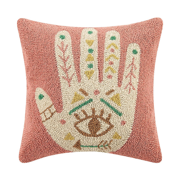 Hamsa Hand Wool Boho Pillow