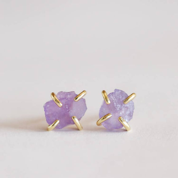 Amethyst Gold Plated Prong Earring Set