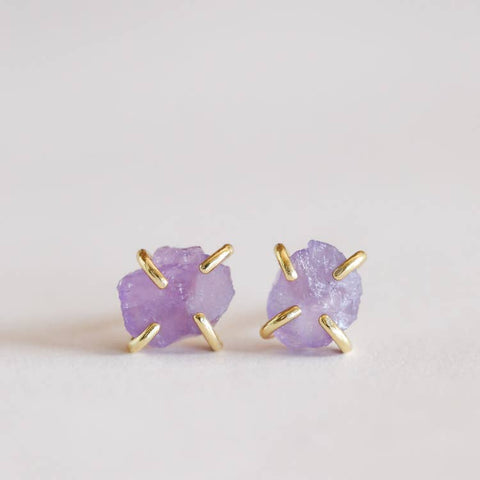 Amethyst Prong Set Earrings