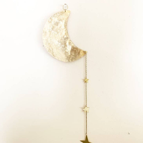 Moon and Star Brass Wall Hanging