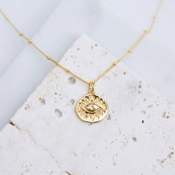 Gold Plated Evil Eye Coin Necklace
