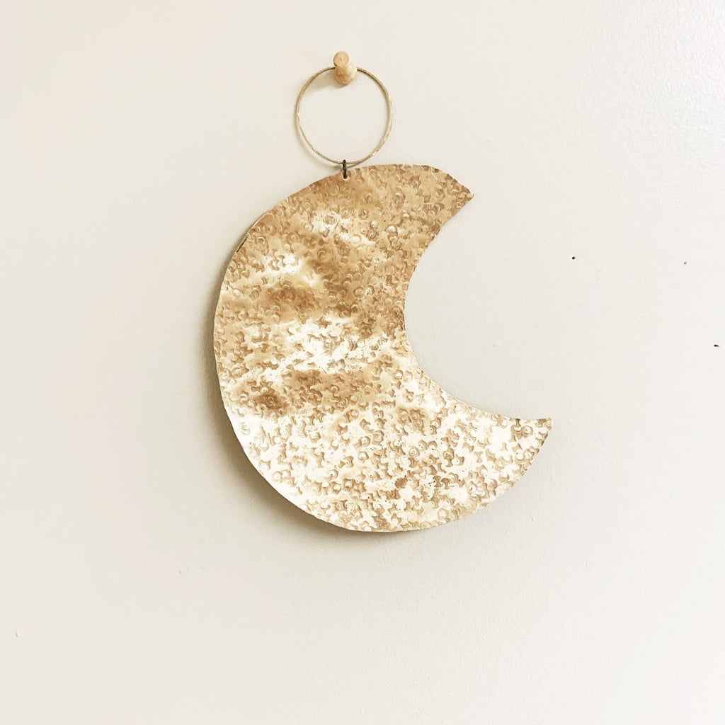 Brass Hammered Moon Wall Hanging
