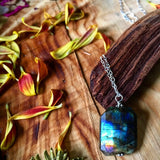 Iridescent Labradorite Sterling Silver Statement Necklace