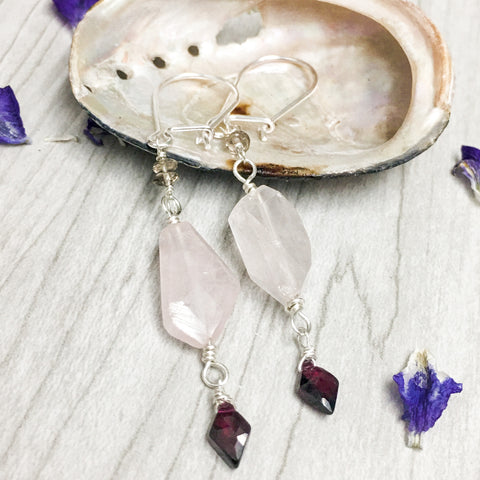 Rose Quartz and Garnet Sterling Silver Dangle Earrings