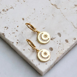 Gold Plated Moon and Star Gold Huggie Earrings