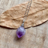 Amethyst Point Dainty Sterling Silver Pendant Necklace