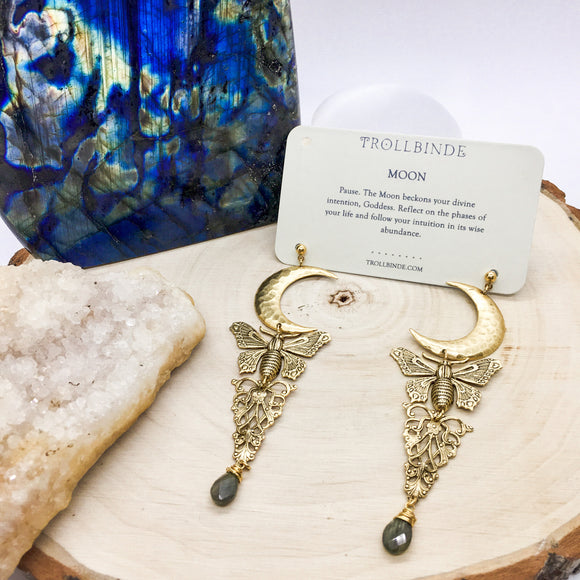 Moon and Moth Long Brass Statement Earrings