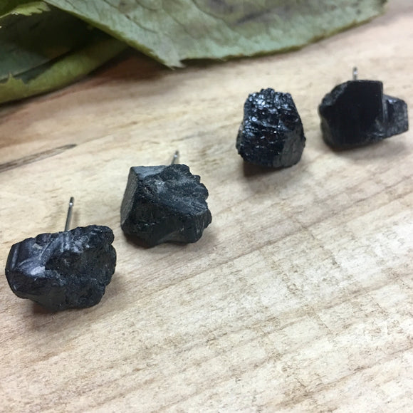 Black Tourmaline Rough Stone Stud Earrings