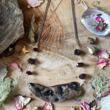 Red Garnet Rhodolite and Driftwood Necklace