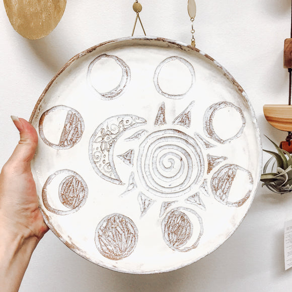 White Moon Phase Stoneware Ceramic Plate