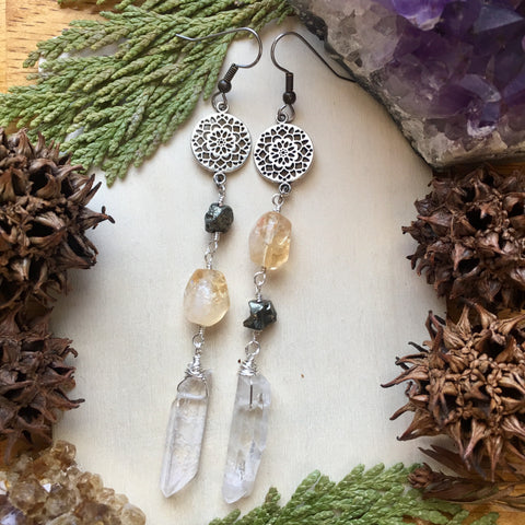 Mandala Manifestation-Citrine, Pyrite and Quartz Point Long Earrings