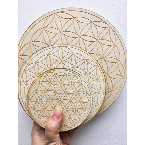 Flower of Life Birchwood Crystal Grid 4 Inch