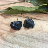 Black Tourmaline Rough Stone Hypoallergenic Stud Earrings