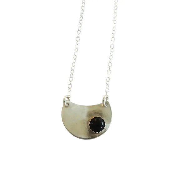 Onyx and Sterling Silver Pendant Necklace