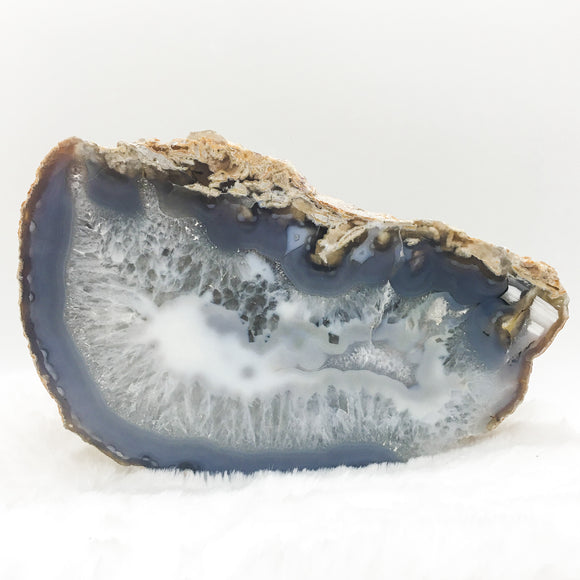 Gray and White Agate Geode Slice Plate