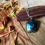 Iridescent Labradorite Sterling Silver Pendant Necklace