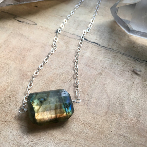 Labradorite Faceted Pendant Necklace
