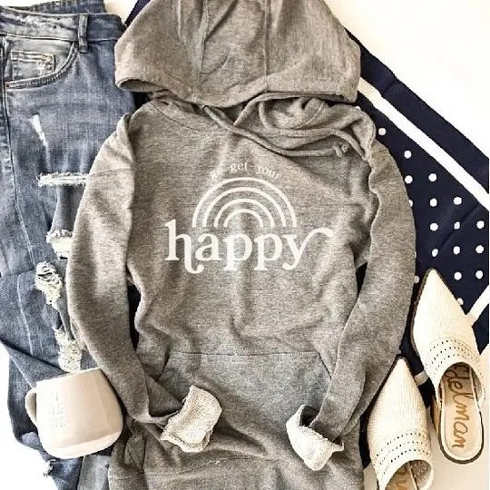 Heather Gray Hoodie with White Rainbow Graphic