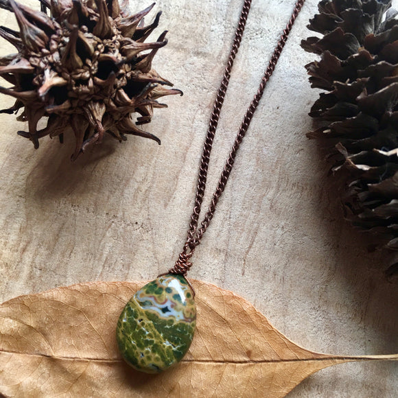 Ocean Jasper Teardrop Bead Wrapped Copper Necklace