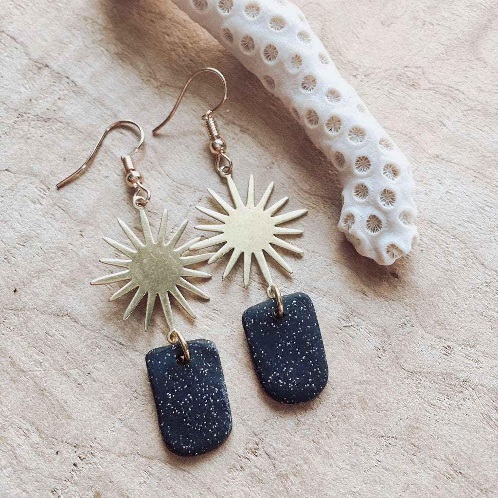 Sunburst Brass And Black Sparkle Clay Dangle Earrings