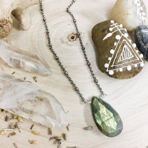 Large Labradorite Faceted Pendant Necklace