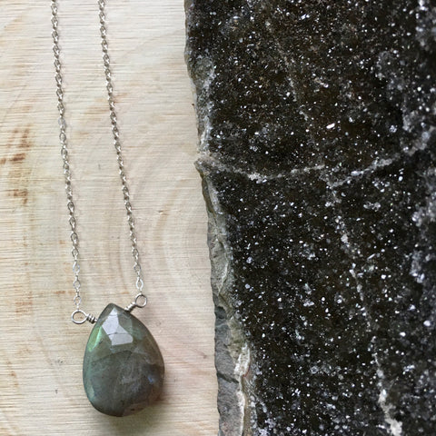 Labradorite Teardrop Pendant Sterling Silver Necklace